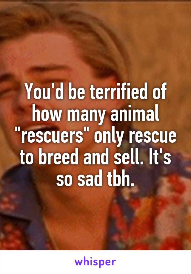 """You'd be terrified of how many animal """"rescuers"""" only rescue to breed and sell. It's so sad tbh."""