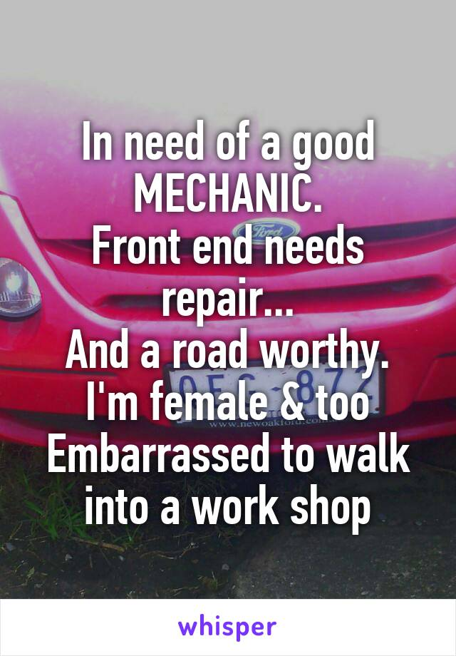 In need of a good MECHANIC. Front end needs repair... And a road worthy. I'm female & too Embarrassed to walk into a work shop