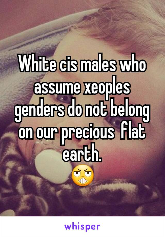White cis males who assume xeoples genders do not belong on our precious  flat earth. 😬