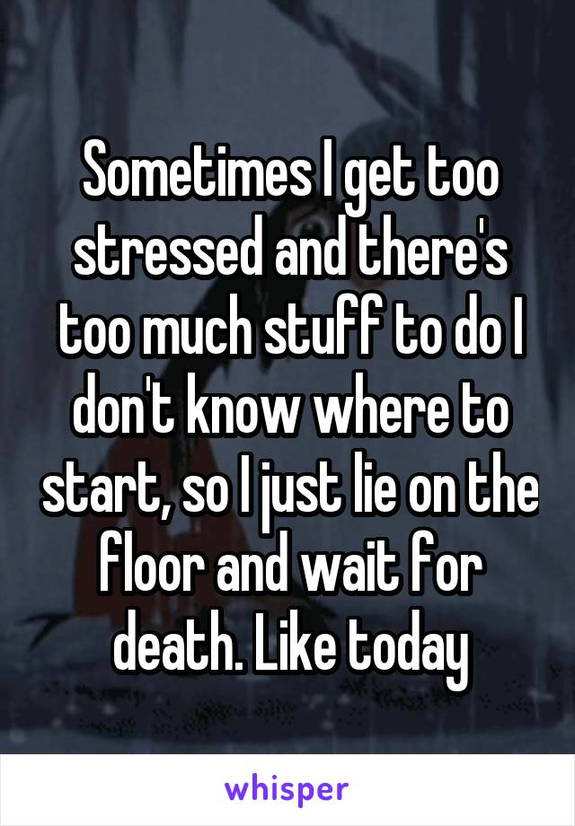 Sometimes I get too stressed and there's too much stuff to do I don't know where to start, so I just lie on the floor and wait for death. Like today