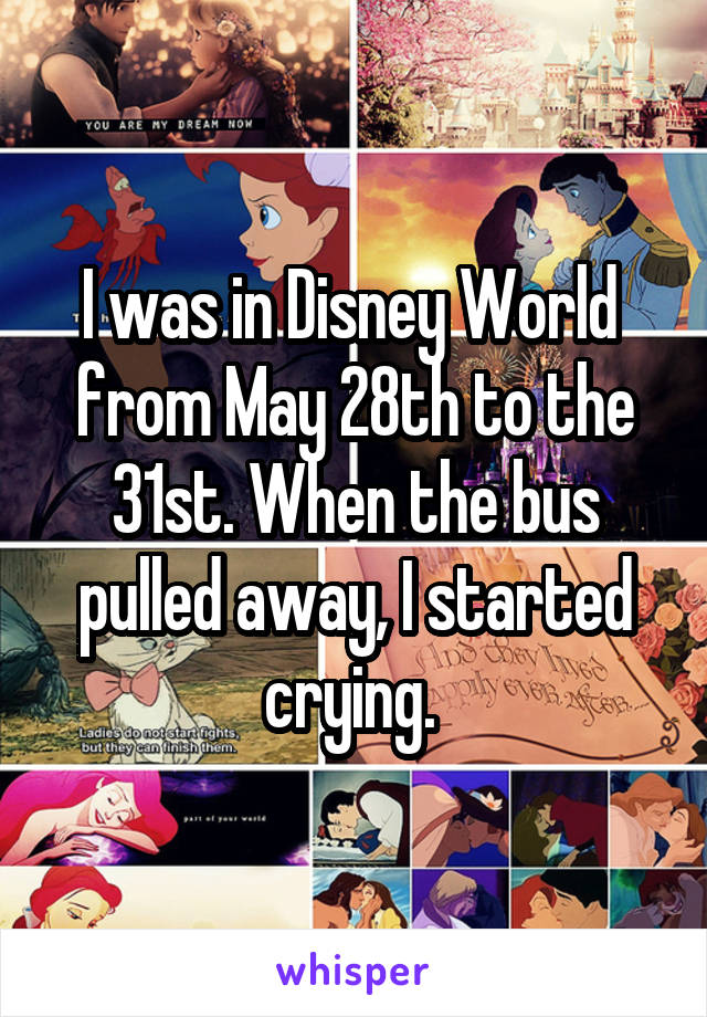 I was in Disney World  from May 28th to the 31st. When the bus pulled away, I started crying.