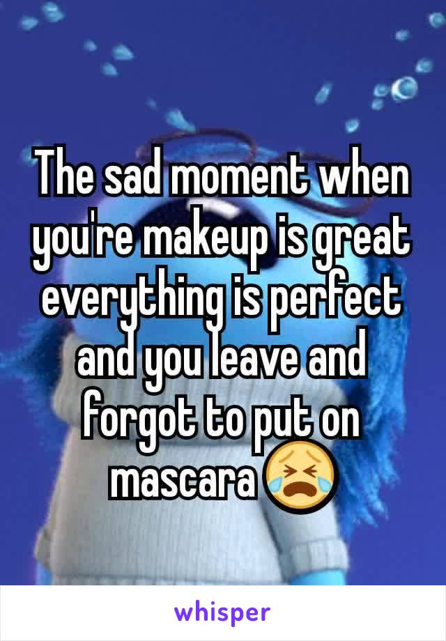 The sad moment when you're makeup is great everything is perfect and you leave and forgot to put on mascara 😭