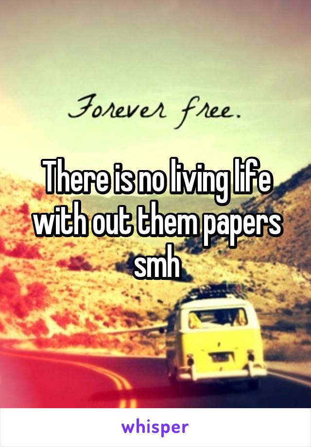 There is no living life with out them papers smh