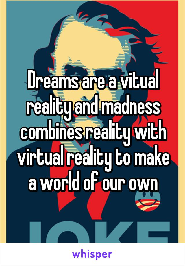 Dreams are a vitual reality and madness combines reality with virtual reality to make a world of our own