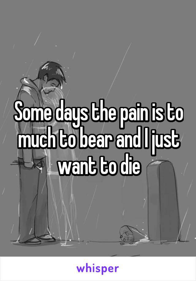 Some days the pain is to much to bear and I just want to die