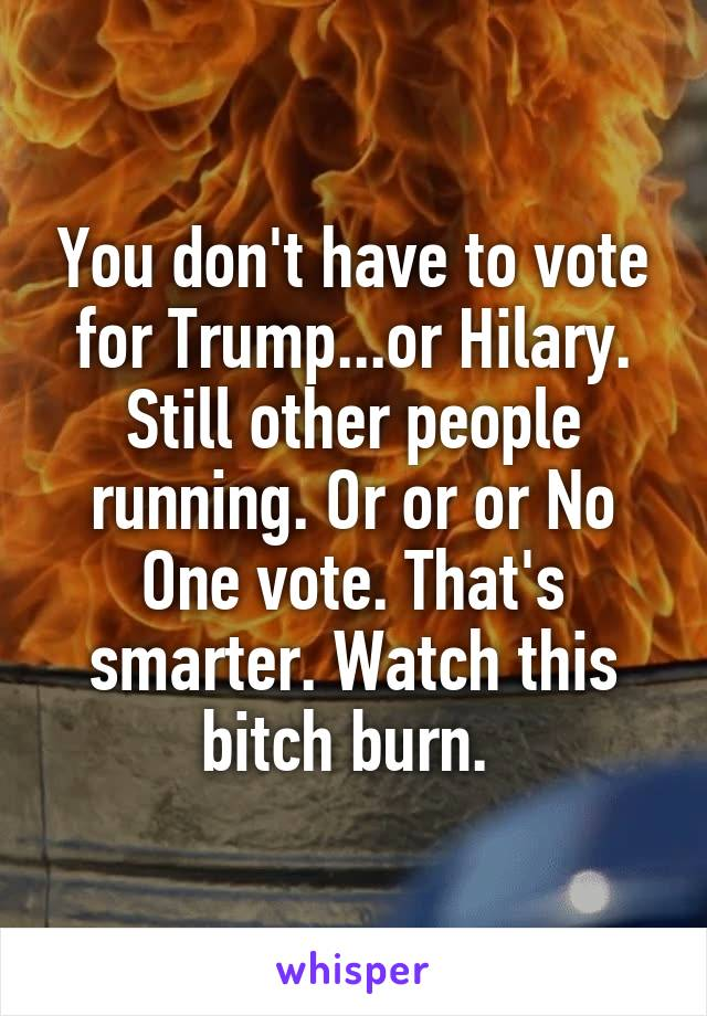 You don't have to vote for Trump...or Hilary. Still other people running. Or or or No One vote. That's smarter. Watch this bitch burn.