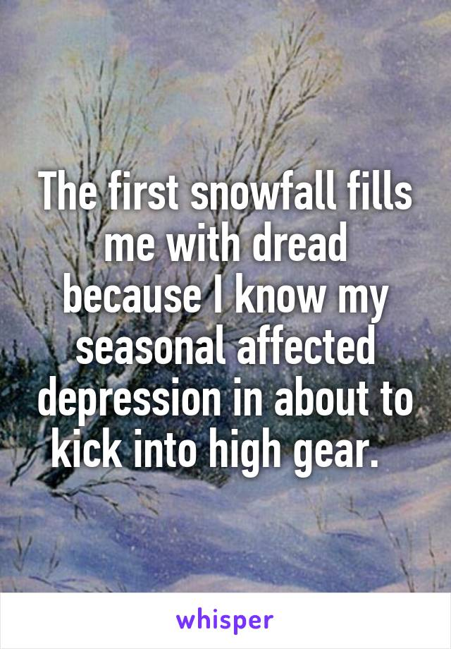 The first snowfall fills me with dread because I know my seasonal affected depression in about to kick into high gear.