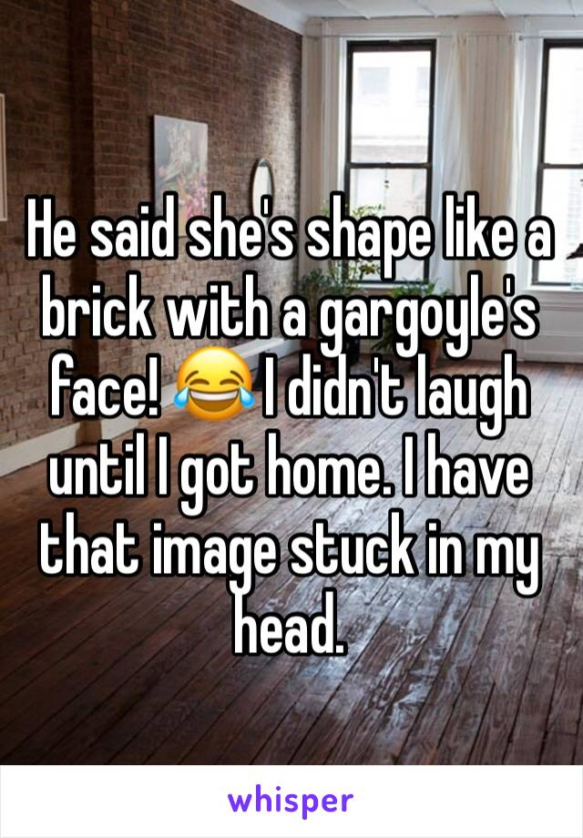 He said she's shape like a brick with a gargoyle's face! 😂 I didn't laugh until I got home. I have that image stuck in my head.