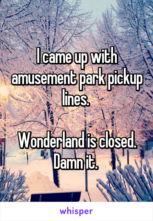 I came up with amusement park pickup lines.   Wonderland is closed. Damn it.