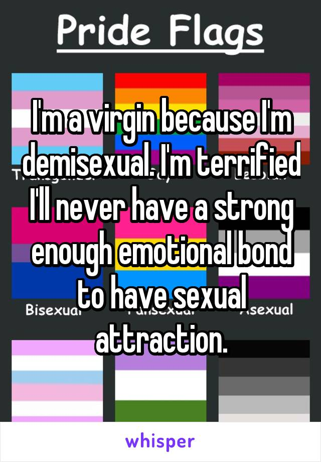 I'm a virgin because I'm demisexual. I'm terrified I'll never have a strong enough emotional bond to have sexual attraction.