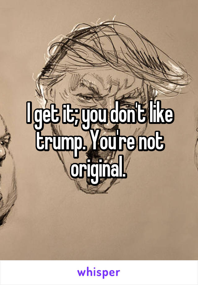 I get it; you don't like trump. You're not original.