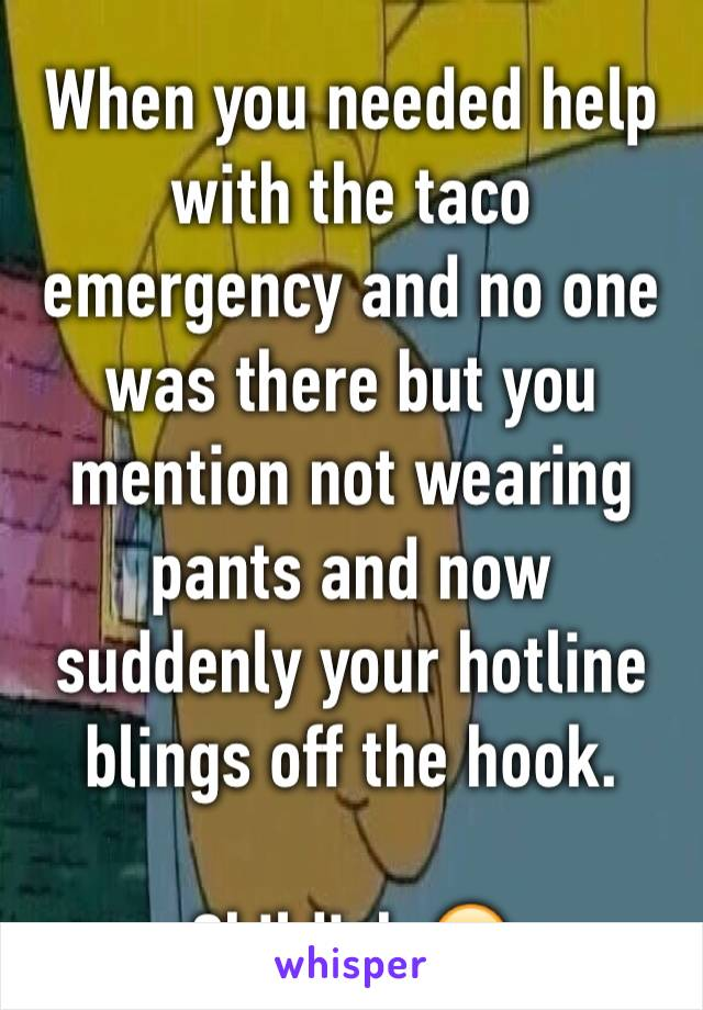 When you needed help with the taco emergency and no one was there but you mention not wearing pants and now suddenly your hotline blings off the hook.  Childish 🙄