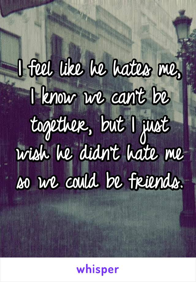 I feel like he hates me, I know we can't be together, but I just wish he didn't hate me so we could be friends.