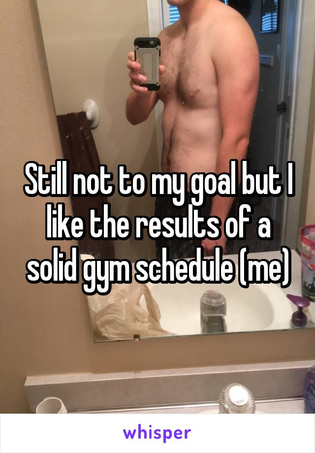 Still not to my goal but I like the results of a solid gym schedule (me)