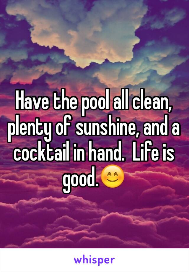Have the pool all clean, plenty of sunshine, and a cocktail in hand.  Life is good.😊