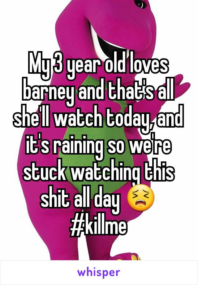 My 3 year old loves barney and that's all she'll watch today, and it's raining so we're stuck watching this shit all day 😣 #killme