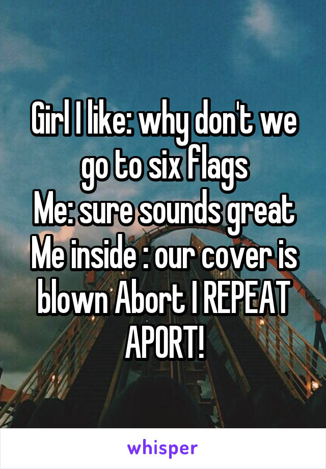 Girl I like: why don't we go to six flags Me: sure sounds great Me inside : our cover is blown Abort I REPEAT APORT!