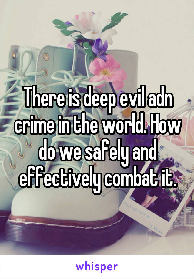There is deep evil adn crime in the world. How do we safely and effectively combat it.