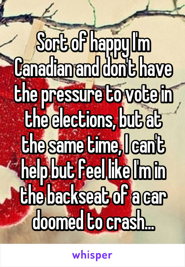 Sort of happy I'm Canadian and don't have the pressure to vote in the elections, but at the same time, I can't help but feel like I'm in the backseat of a car doomed to crash...