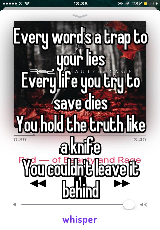 Every word's a trap to your lies Every life you try to save dies You hold the truth like a knife You couldn't leave it behind