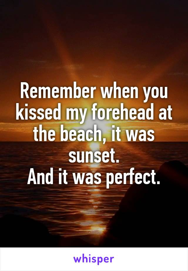 Remember when you kissed my forehead at the beach, it was sunset. And it was perfect.