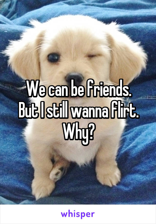 We can be friends. But I still wanna flirt. Why?