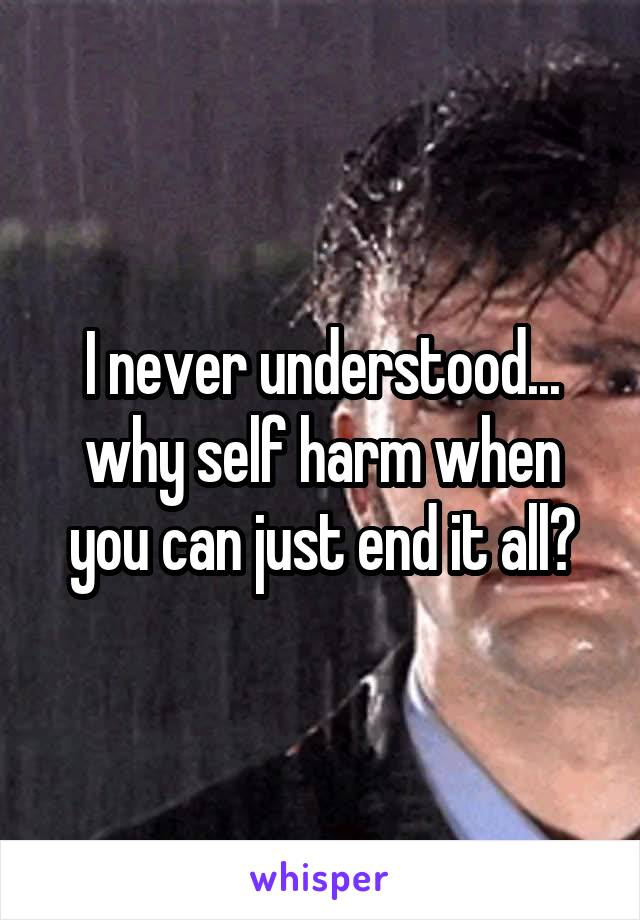 I never understood... why self harm when you can just end it all?