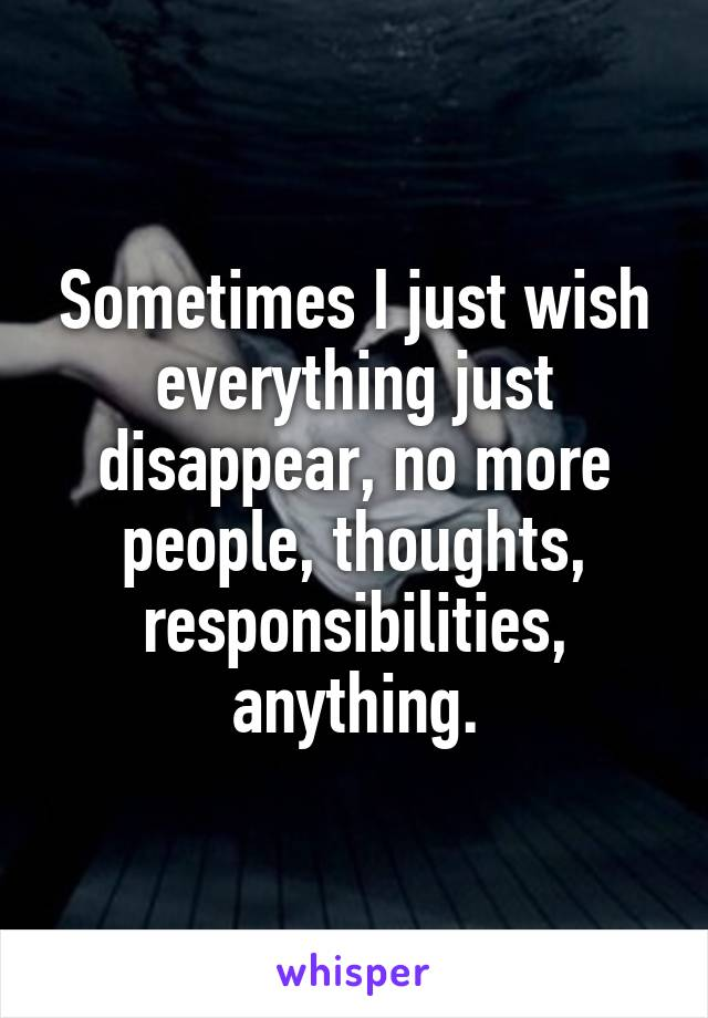 Sometimes I just wish everything just disappear, no more people, thoughts, responsibilities, anything.