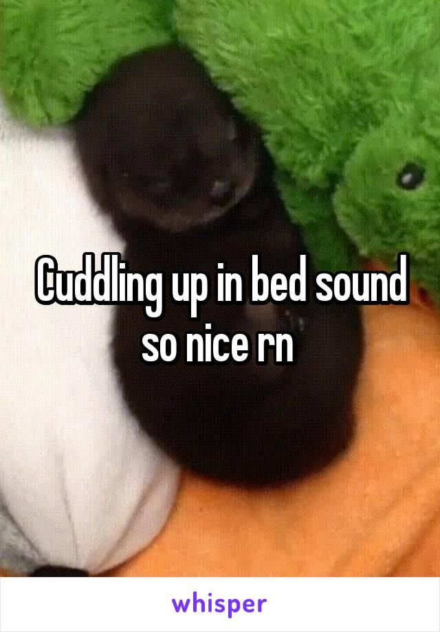 Cuddling up in bed sound so nice rn