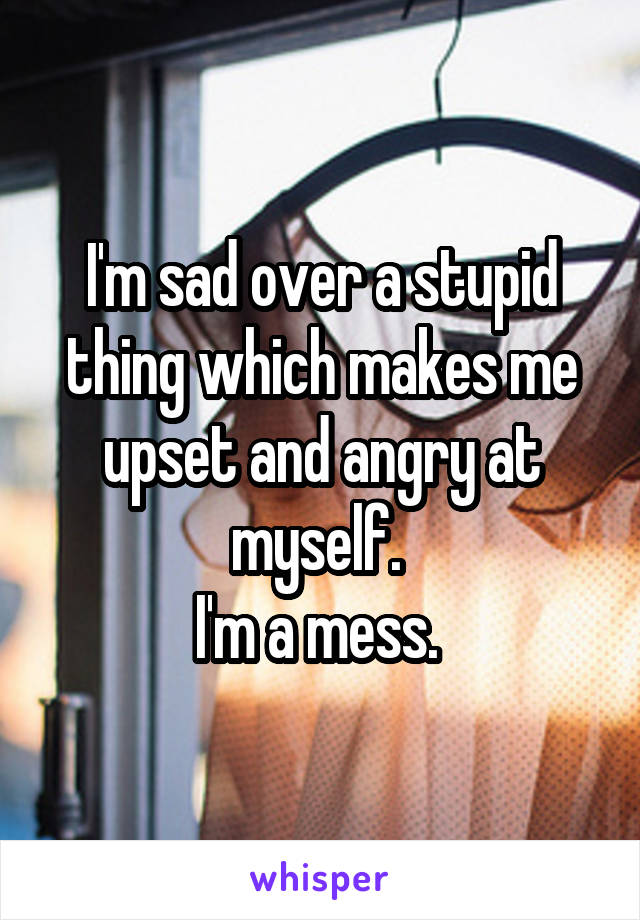 I'm sad over a stupid thing which makes me upset and angry at myself.  I'm a mess.