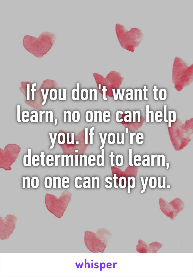 If you don't want to learn, no one can help you. If you're determined to learn, no one can stop you.