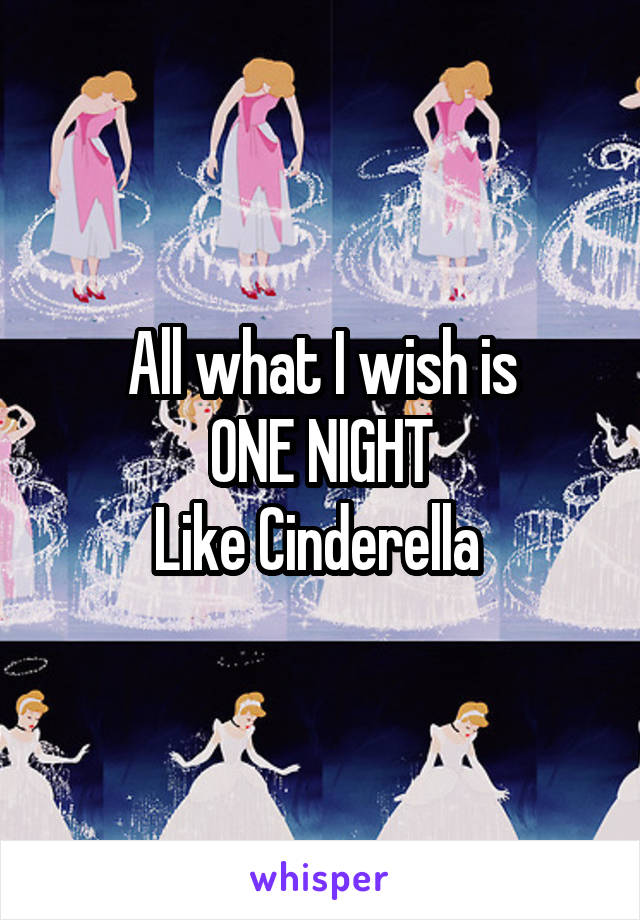 All what I wish is ONE NIGHT Like Cinderella