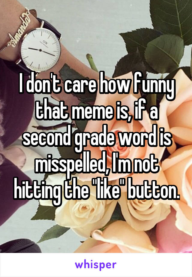 "I don't care how funny that meme is, if a second grade word is misspelled, I'm not hitting the ""like"" button."