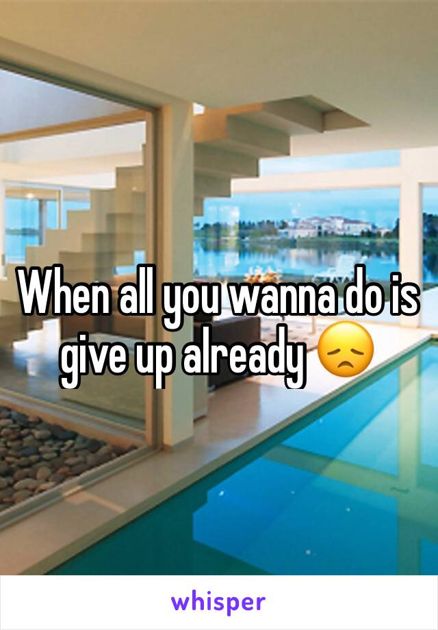 When all you wanna do is give up already 😞