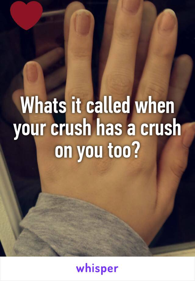Whats it called when your crush has a crush on you too?