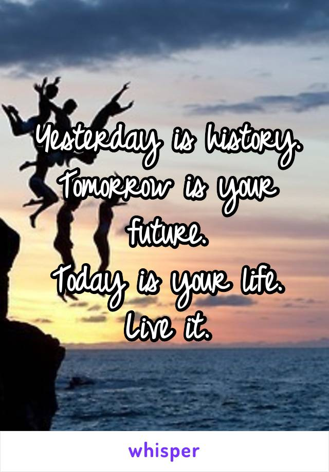Yesterday is history. Tomorrow is your future. Today is your life. Live it.