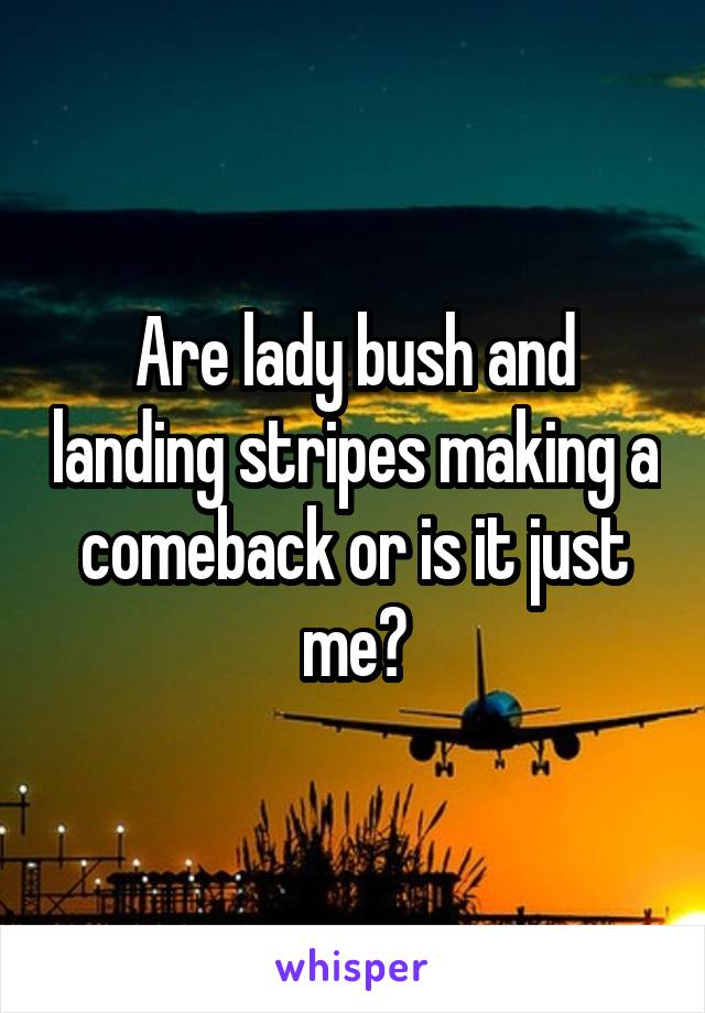 Are lady bush and landing stripes making a comeback or is it just me?