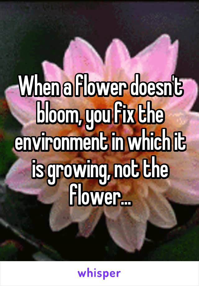When a flower doesn't bloom, you fix the environment in which it is growing, not the flower...