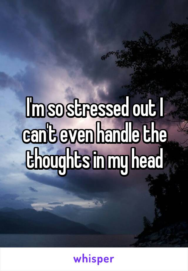 I'm so stressed out I can't even handle the thoughts in my head