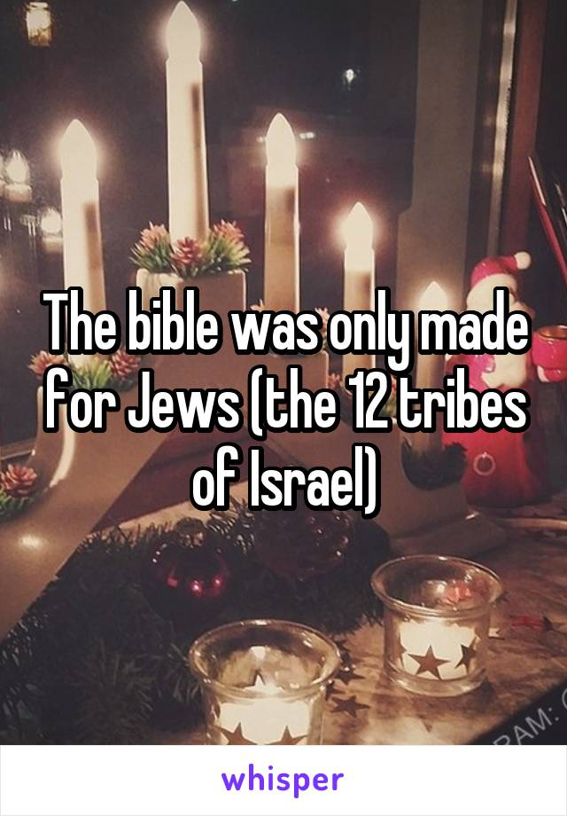 The bible was only made for Jews (the 12 tribes of Israel)
