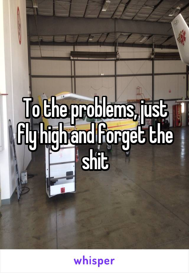 To the problems, just fly high and forget the shit