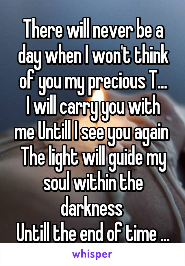 There will never be a day when I won't think of you my precious T... I will carry you with me Untill I see you again  The light will guide my soul within the darkness  Untill the end of time ...