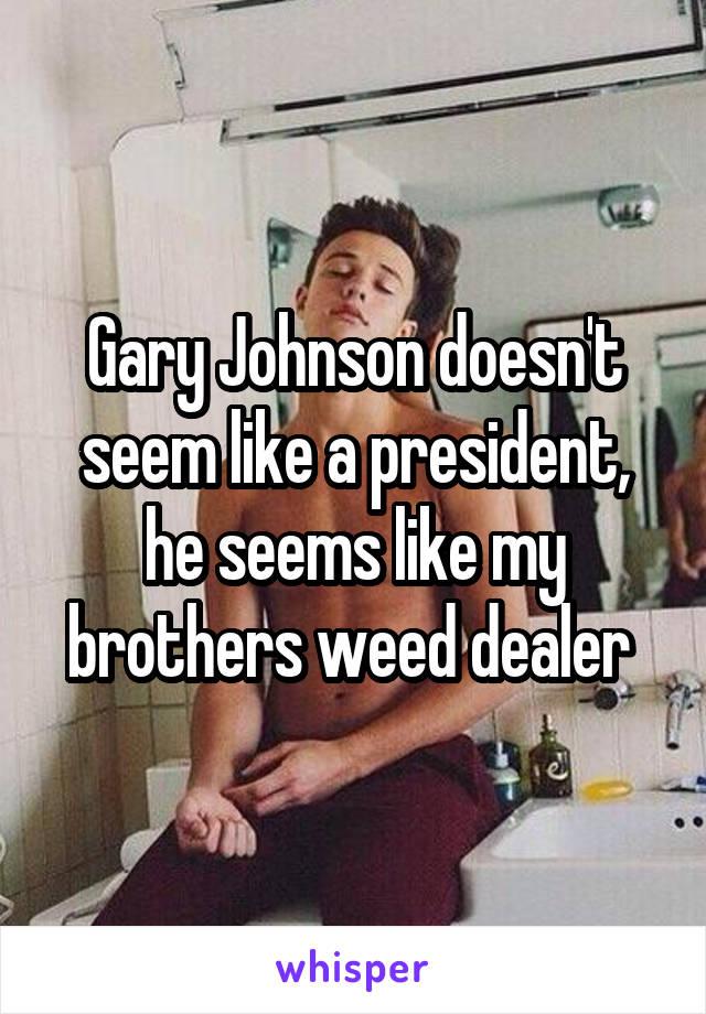 Gary Johnson doesn't seem like a president, he seems like my brothers weed dealer