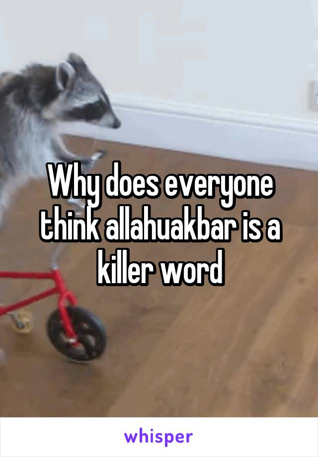 Why does everyone think allahuakbar is a killer word