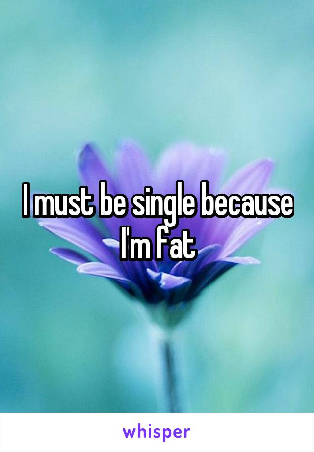 I must be single because I'm fat
