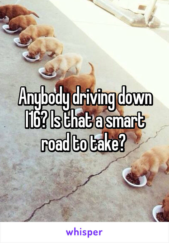 Anybody driving down I16? Is that a smart road to take?