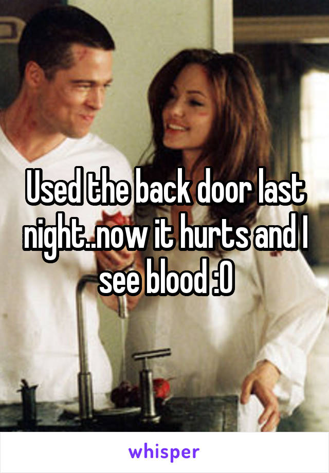 Used the back door last night..now it hurts and I see blood :0