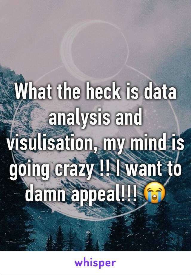 What the heck is data analysis and visulisation, my mind is going crazy !! I want to damn appeal!!! 😭