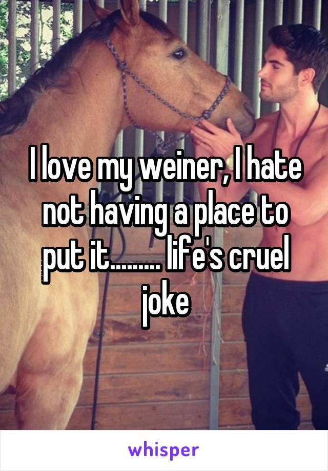 I love my weiner, I hate not having a place to put it......... life's cruel joke