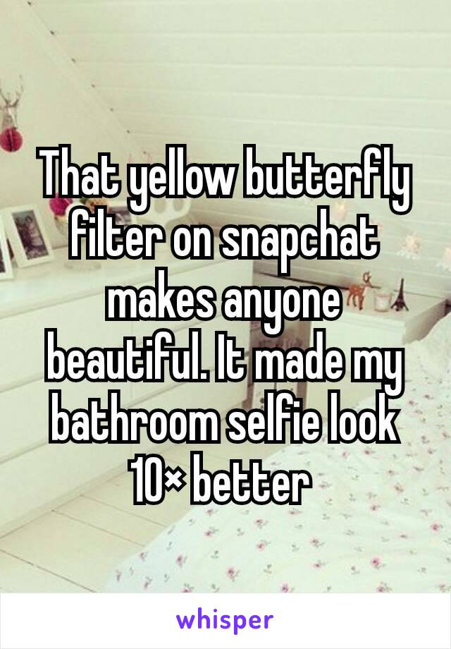 That yellow butterfly filter on snapchat makes anyone beautiful. It made my bathroom selfie look 10× better